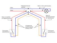 Схема коридорного освещения с двумя выключателями