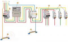 Схема подключения УЗО и автоматов 3 фазы
