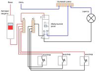 Схема подключения импульсного реле для освещения